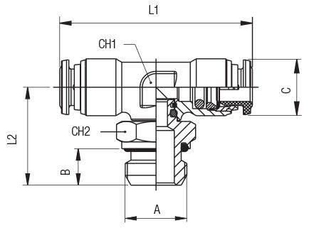ORIENTING TEE MALE ADAPTOR (PARALLEL)-CENTRE LEG