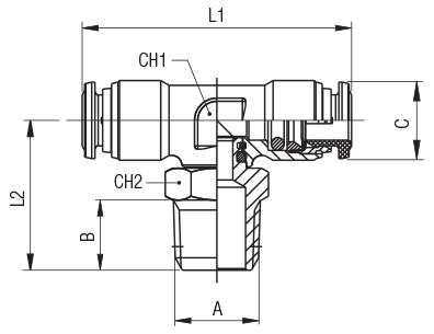 ORIENTING TEE MALE ADAPTOR (TAPER)-CENTRE LEG