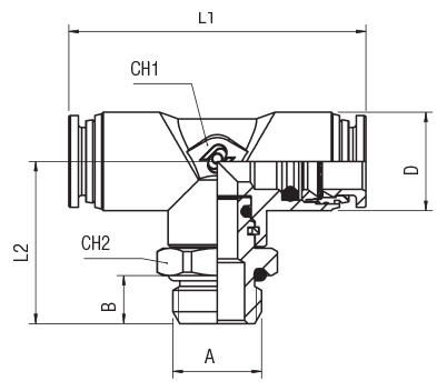 ORIENTING TEE MALE ADAPTOR (PARALLEL) - CENTRE LEG
