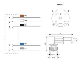 profibus ethernet ip and profinet cable with 90 angle female